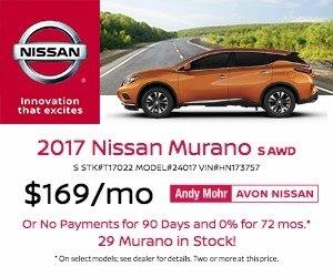 2017 Avon Nissan Murano Lease Offer