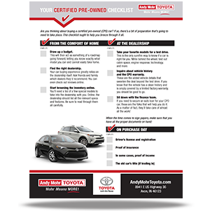 Certified Pre Owned Checklist