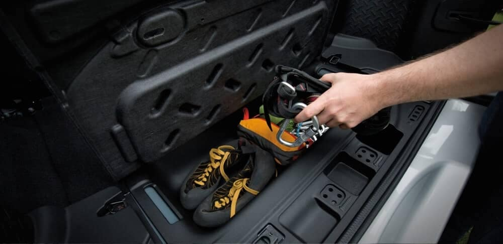 2018 Jeep Wrangler JK storage bin under rear cargo area
