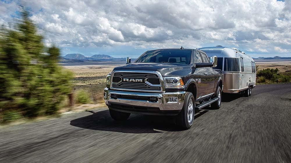 2018 Ram 2500 Limited Towing Trailer on highway