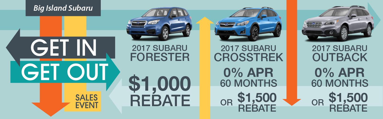 Subaru Get In Get Out Sale