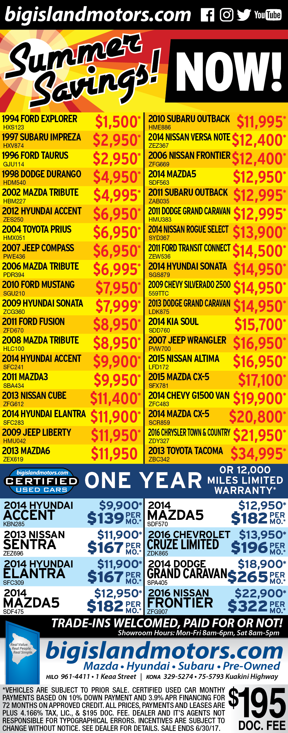6-4 Kona Used Car Ad