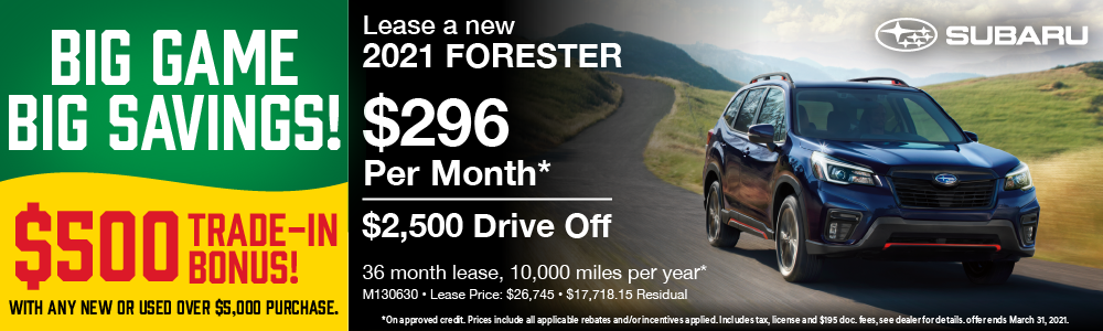 2021 Forester Lease $296