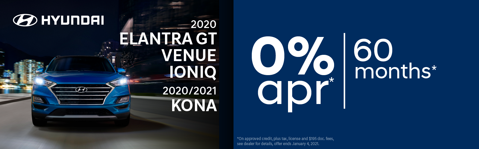 0% apr 60 months on select Hyundai