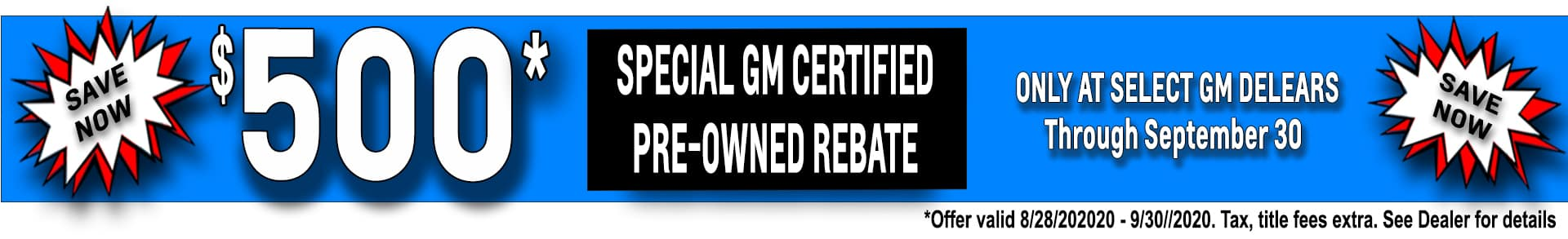 $500 off Select Certified Pre-Owned Vehicles