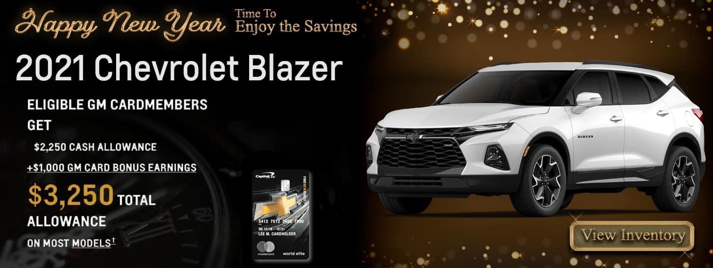 2021 Blazer $2,250 Cash Allowance plus $1,000 GM Card bonus earnings