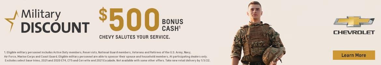 $500 bonus cash for military