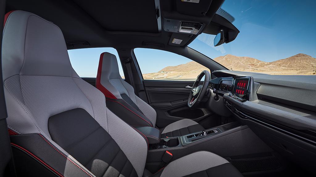 2022 Volkswagen Golf GTI interior with sport cloth seats