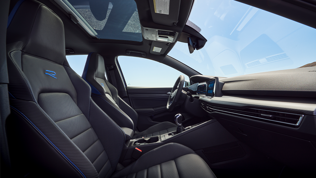 2022 Volkswagen Golf R interior with sport leather seats.