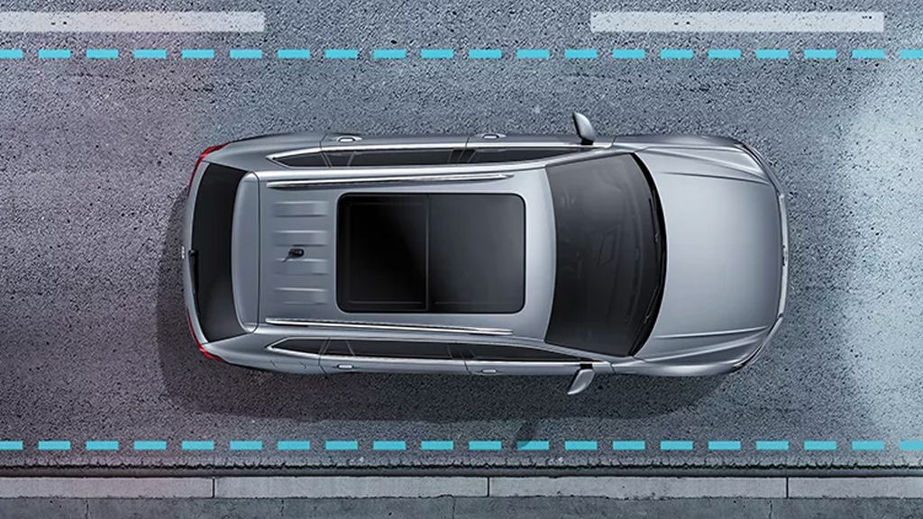 Simulated image demonstrating the function of Volkwagen's IQ.DRIVE technology.