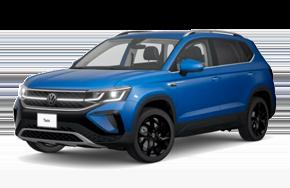 2022 Volkswagen Taos SEL trim in the color Cornflower Blue.