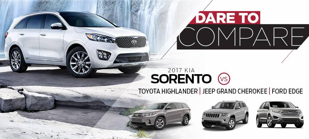 Dare To Compare - Kia Sorento vs Toyota Highlander, Jeep Grand Cherokee, and Ford Edge