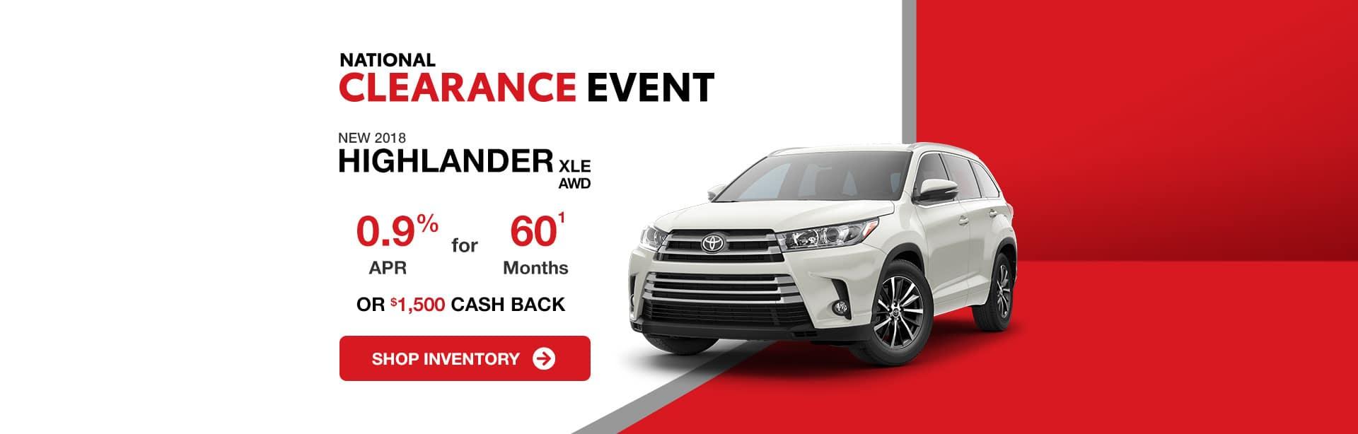 Toyota Highlander Cash Back Offer Ends September 4, 2018. Come visit us for the Best Deal!