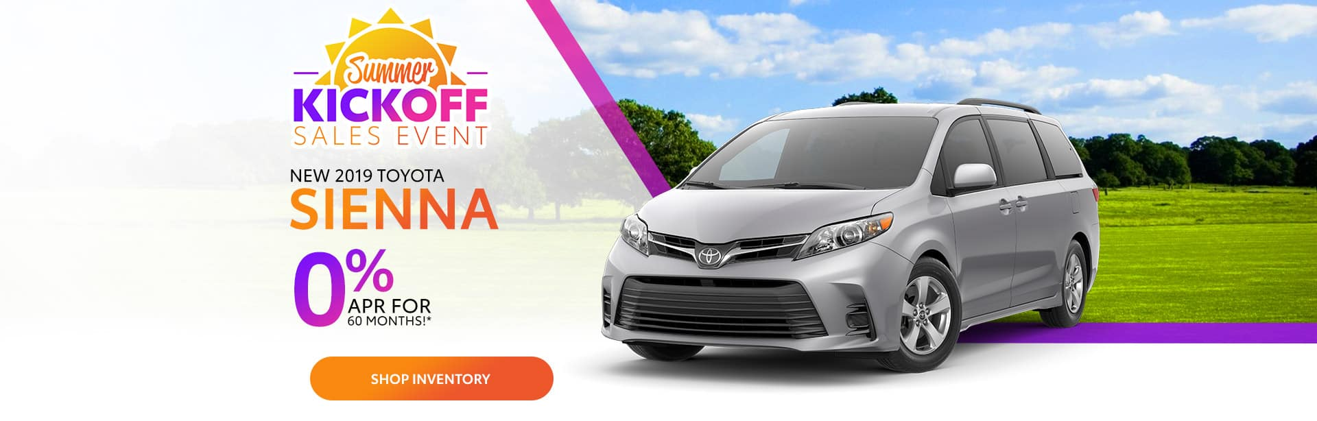 Finance a New Toyota Sienna at 0% APR near Greenwood, Indiana.
