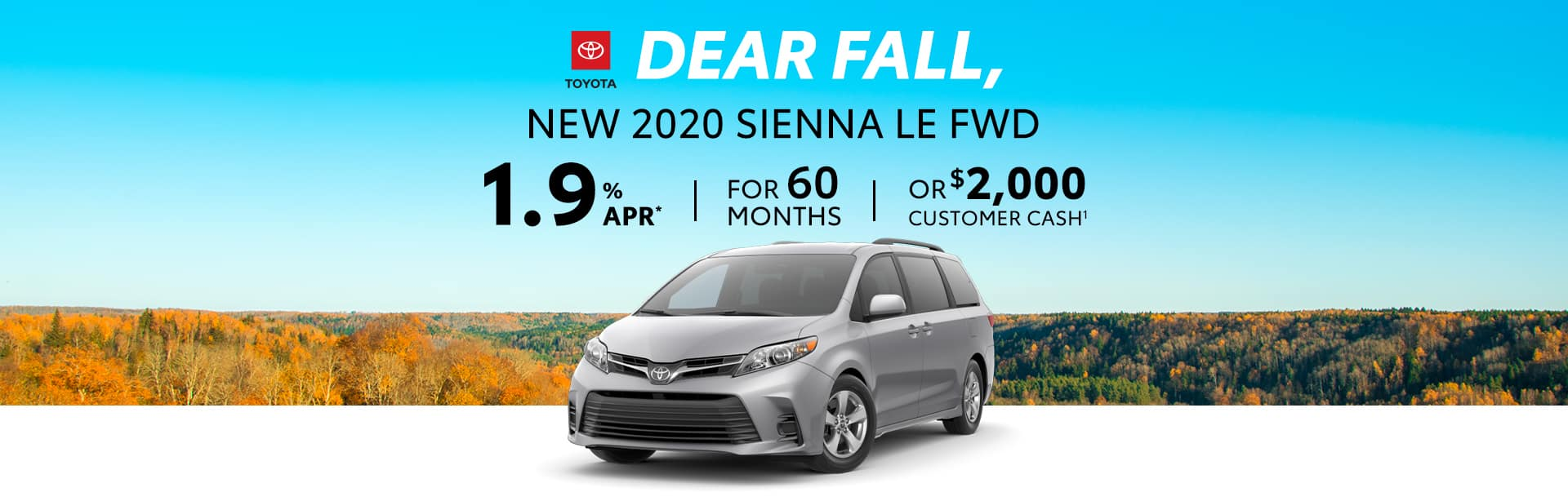 Finance a New Toyota Sienna at 1.9% APR near Greenwood, Indiana.