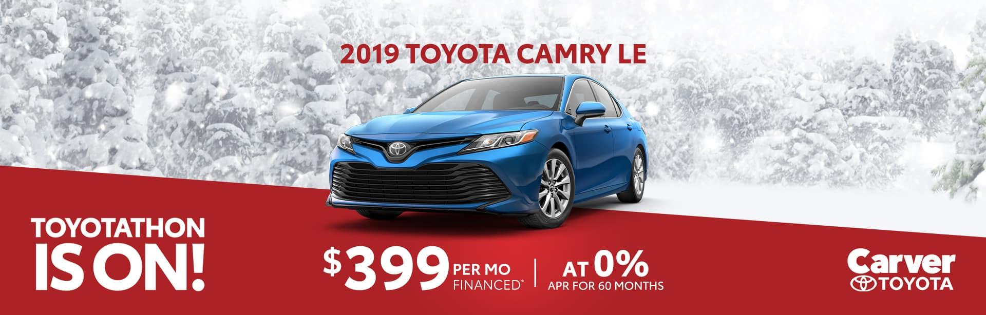 Finance a 2019 Camry at 0% near Shelbyville, Indiana
