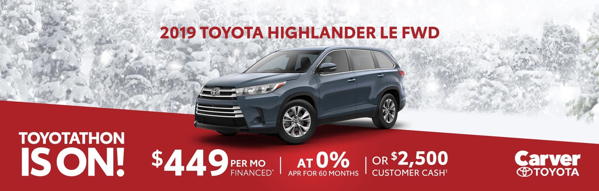 Finance a 2019 Highlander at 0% near Franklin, Indiana