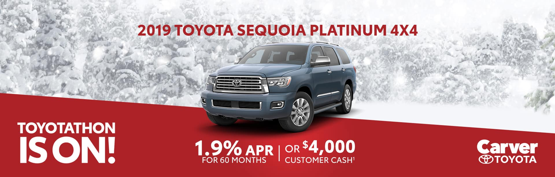Receive up to $4,000 customer cash on new Toyota Sequoia