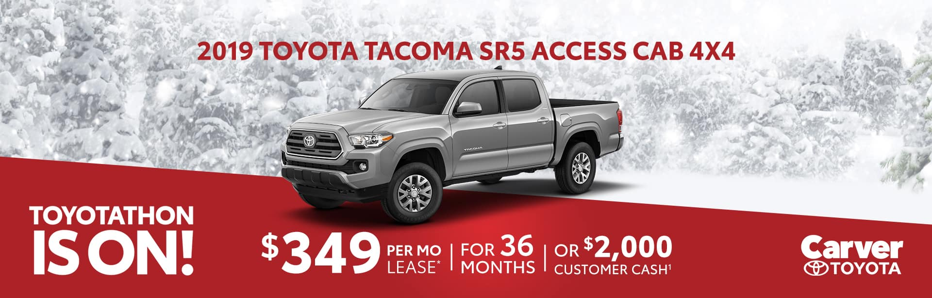 Only a $349 a month lease on a new Tacoma near Shelbyville, Indiana