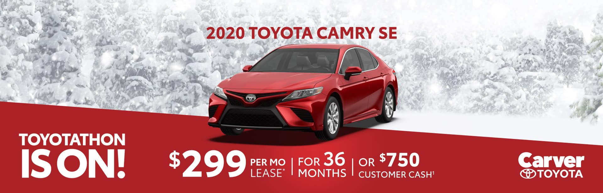 Lease a 2020 Camry for $299 a month near Franklin, Indiana
