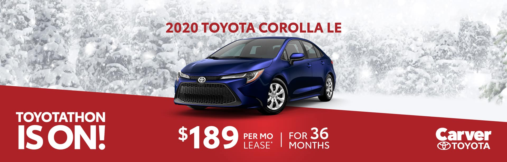 Lease a 2020 Corolla for $189 a month near Indianapolis, Indiana