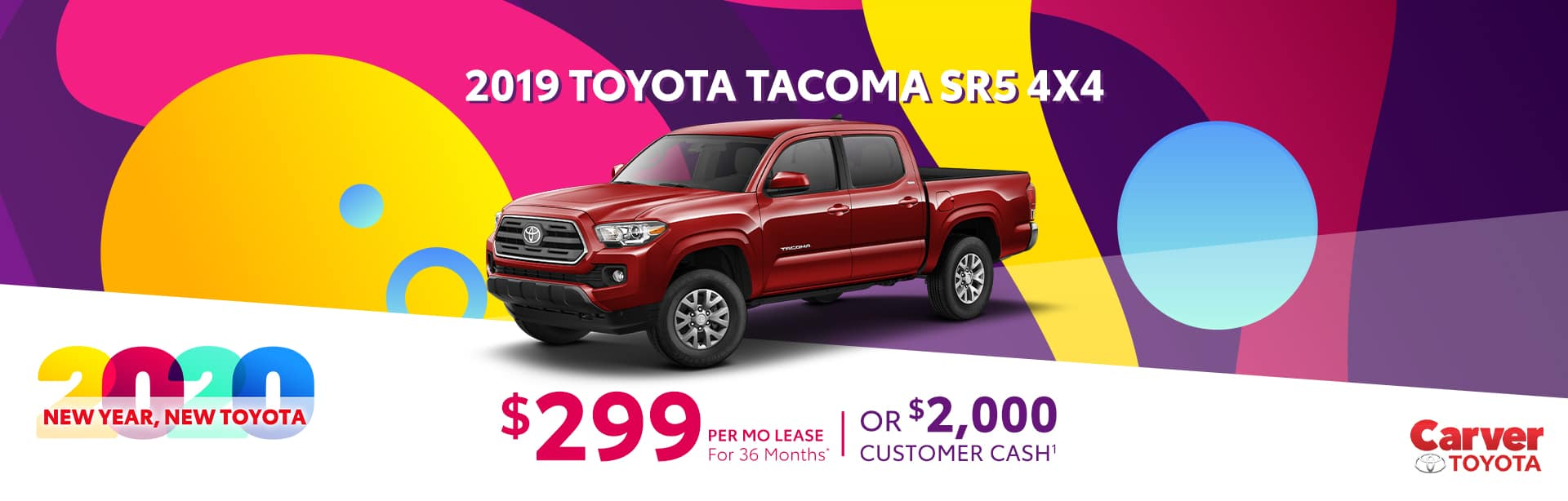 Only a $299 a month lease on a new Tacoma near Shelbyville, Indiana
