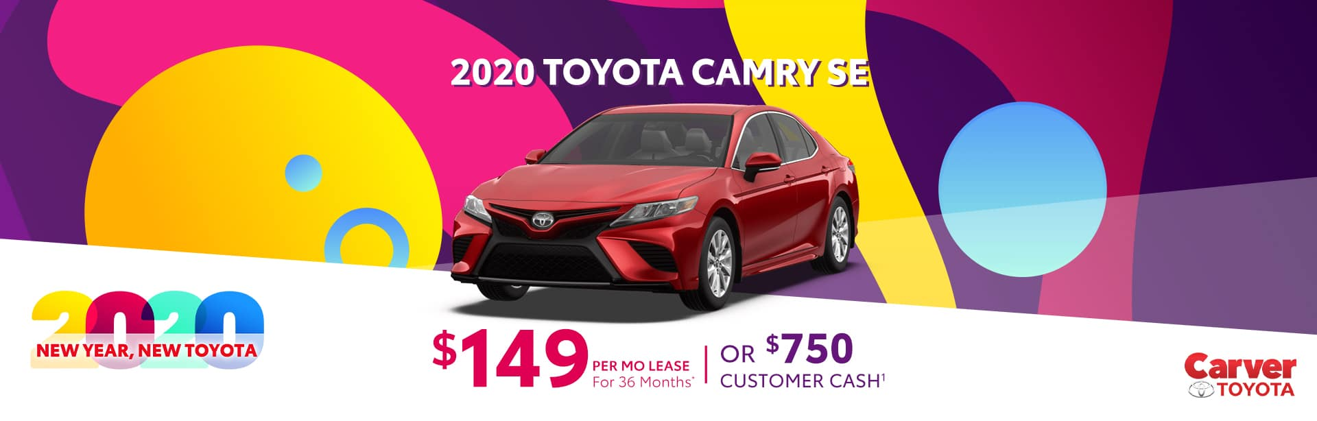 Lease a 2020 Camry for $149 a month near Franklin, Indiana