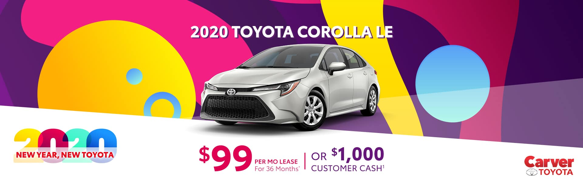 Lease a 2020 Corolla for $99 a month near Indianapolis, Indiana