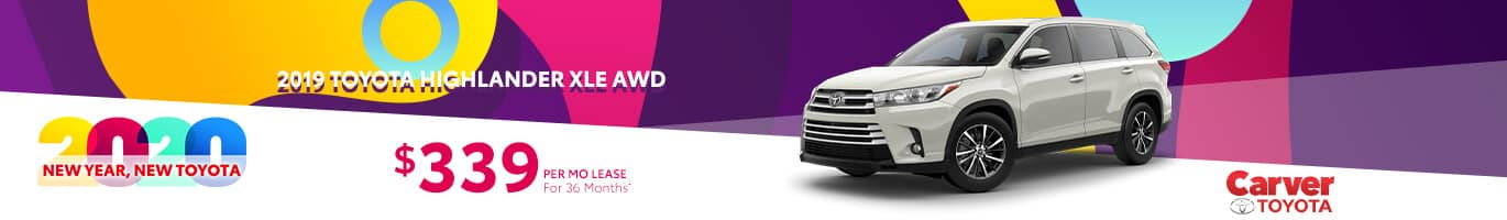 Lease a 2019 Highlander for $339 a month near Franklin, Indiana