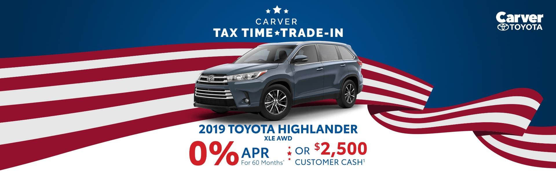 Finance a 2019 Highlander for at 0% near Franklin, Indiana
