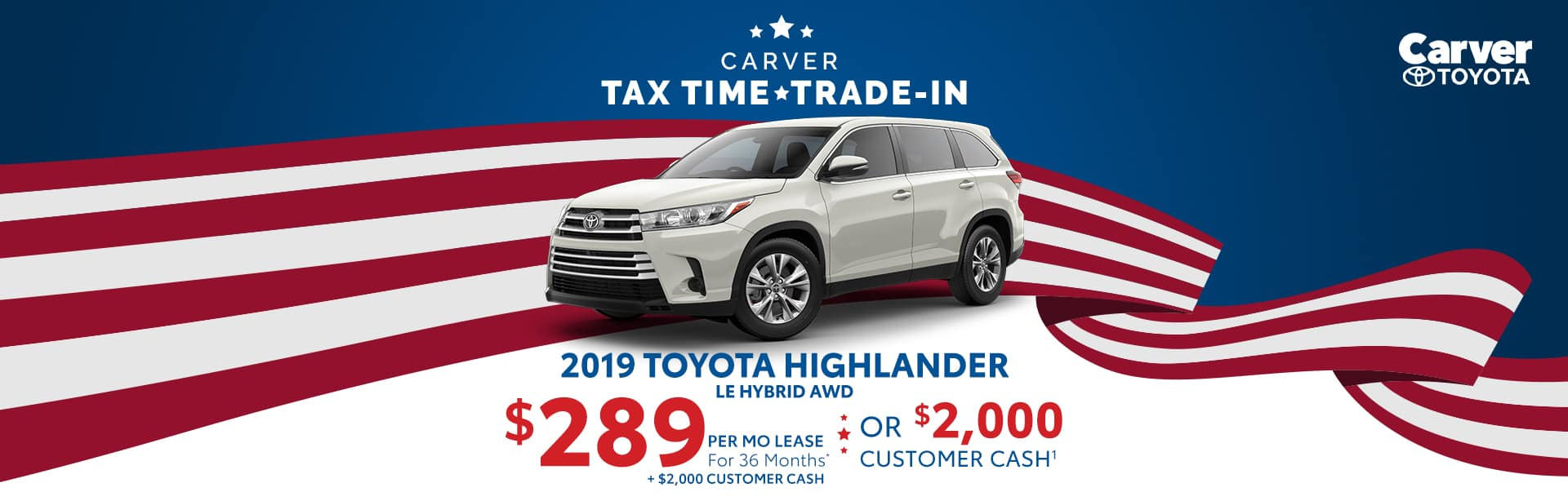 Lease a 2019 Highlander for $289 a month near Franklin, Indiana