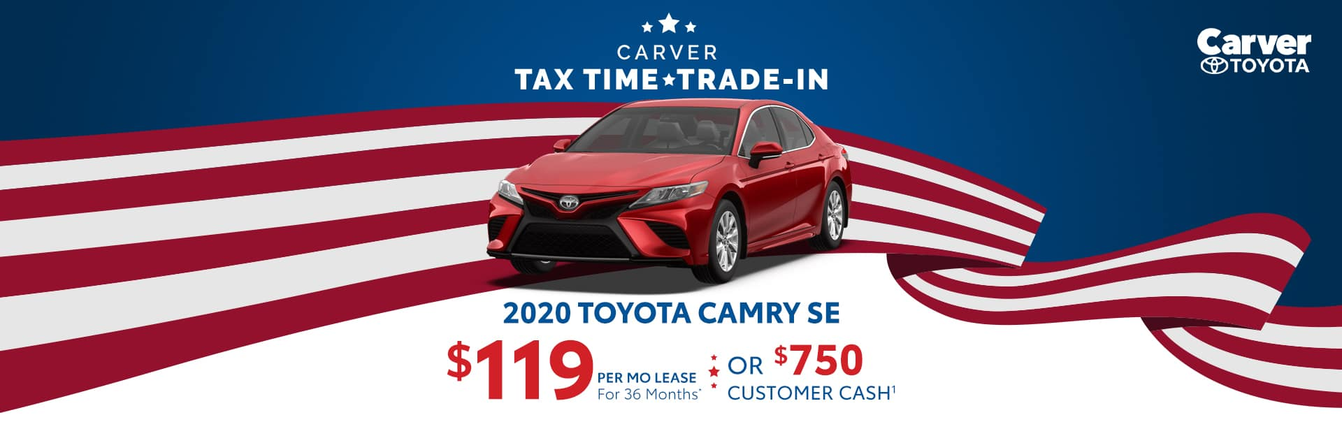 Lease a 2020 Camry for $119 a month near Franklin, Indiana
