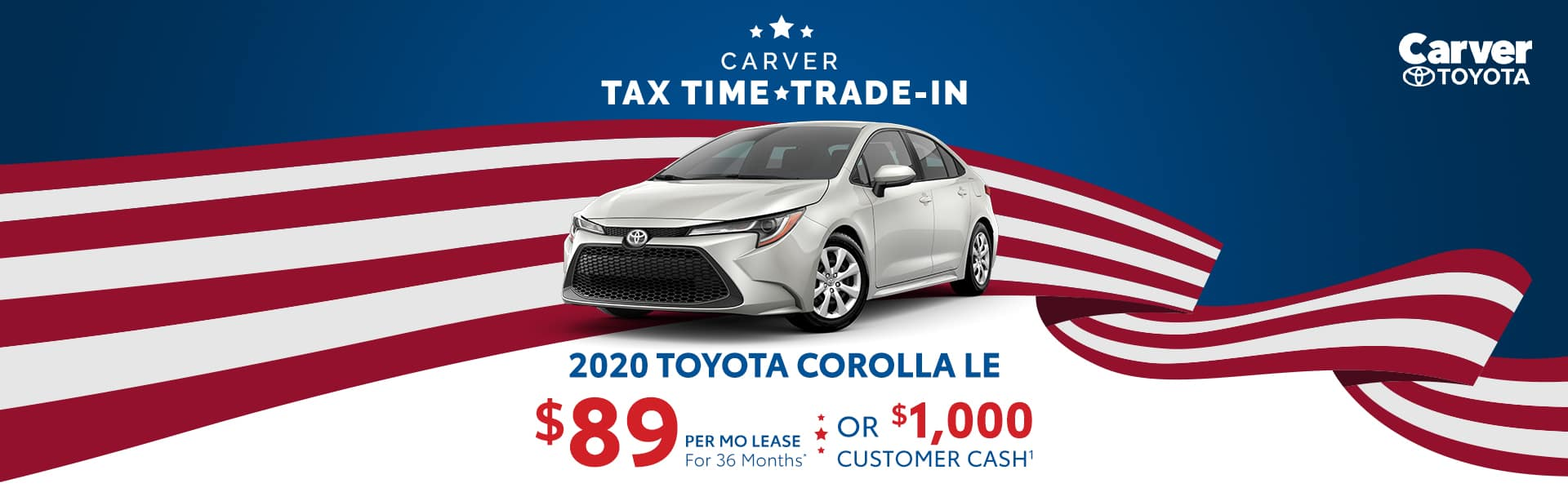 Lease a 2020 Corolla for $89 a month near Indianapolis, Indiana