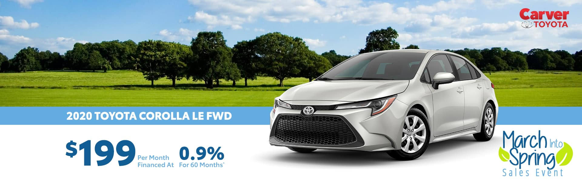 Finance a 2020 Corolla for $199 a month near Indianapolis, Indiana