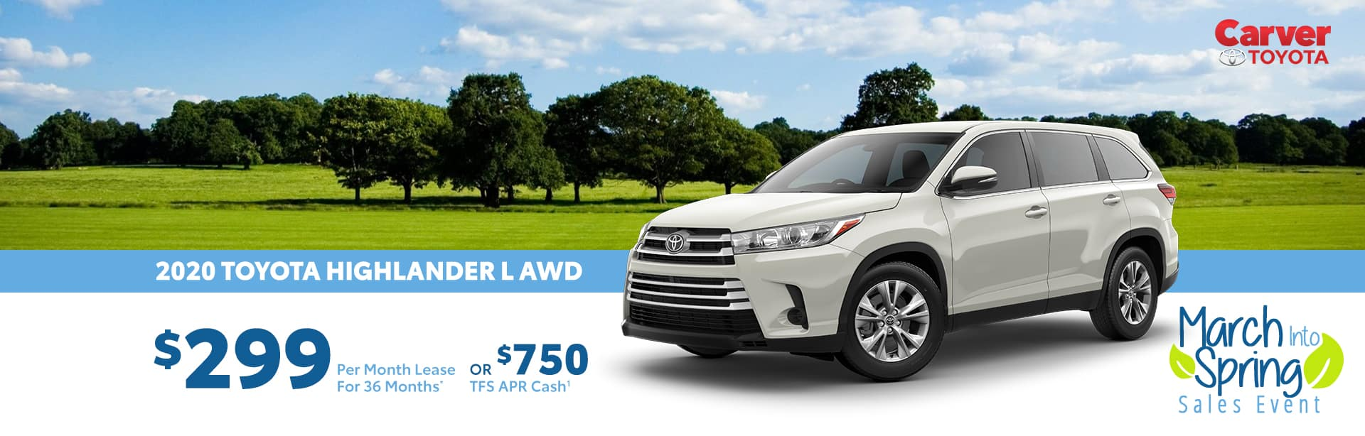 Lease a 2020 Highlander for $299 a month near Franklin, Indiana