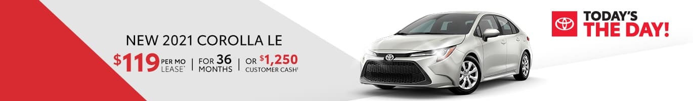 Lease a 2020 Corolla for $119 a month near Indianapolis, Indiana
