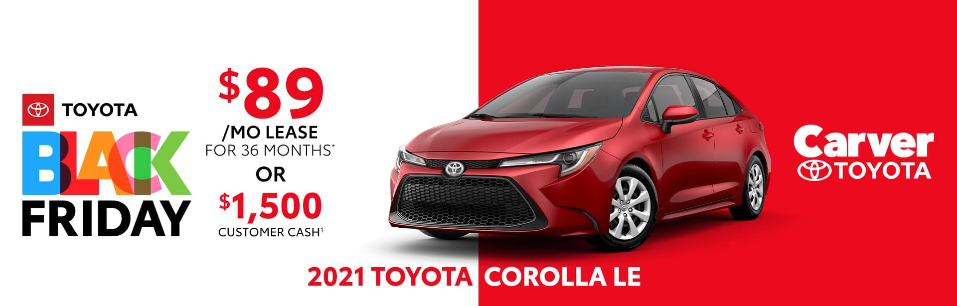 Lease or customer cash offer on the new 2021 Toyota Corolla LE near Columbus, IN