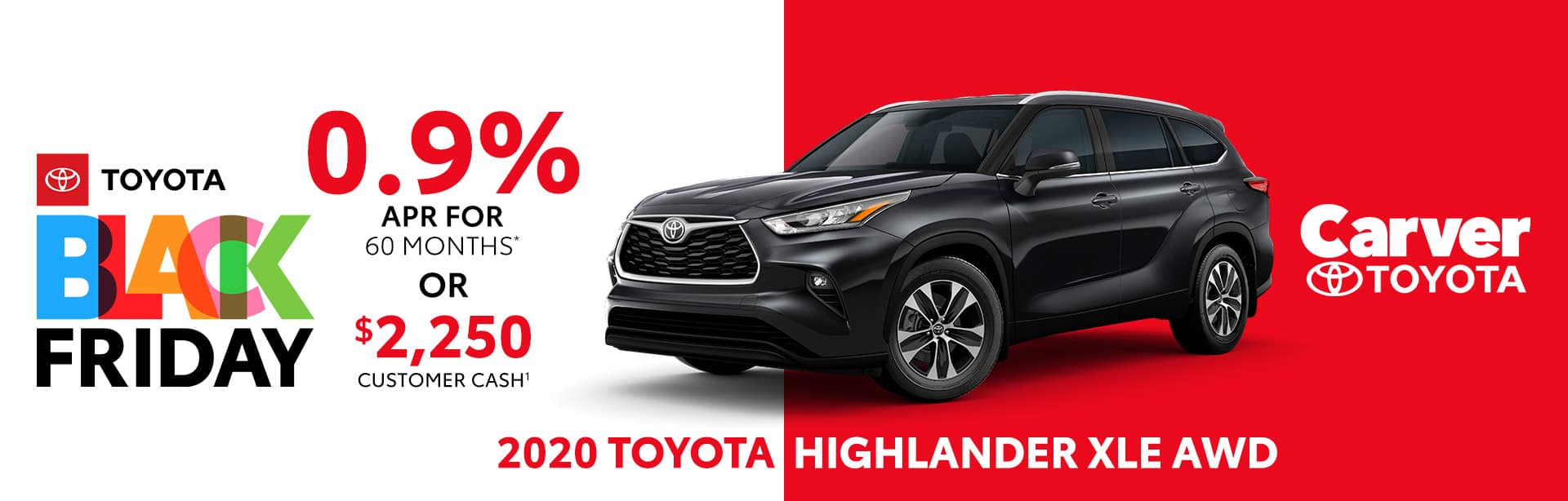 Best finance or customer cash deal on the 2020 Toyota Highlander XLE near Columbus, IN