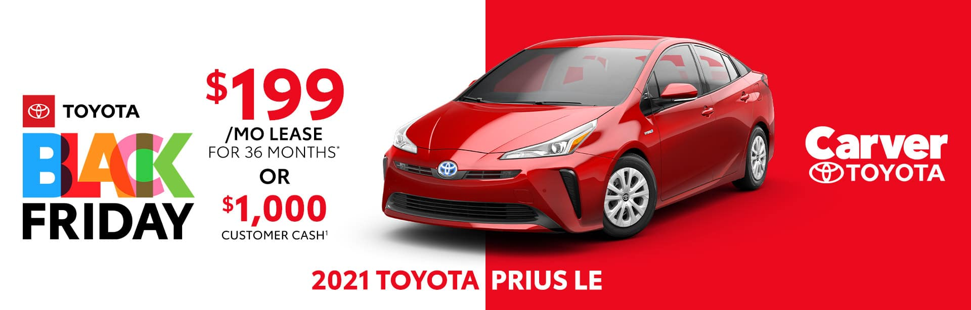 Best lease deal or customer cash on the 2021 Toyota Prius LE near Columbus, IN