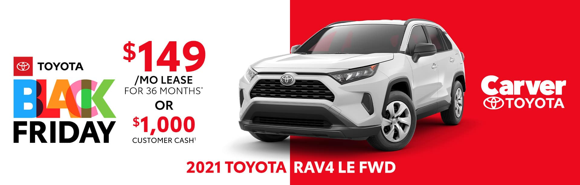 Best lease deal or customer cash back on the all new 2021 Toyota RAV4 LE near Columbus, IN
