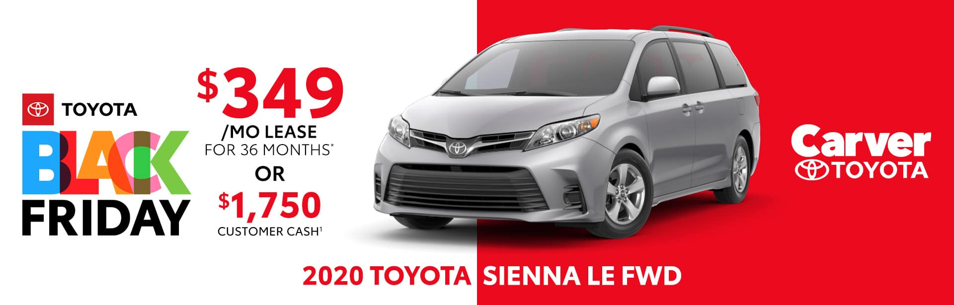 Best lease or customer cash offer on the 2020 Toyota Sienna LE near Columbus, IN