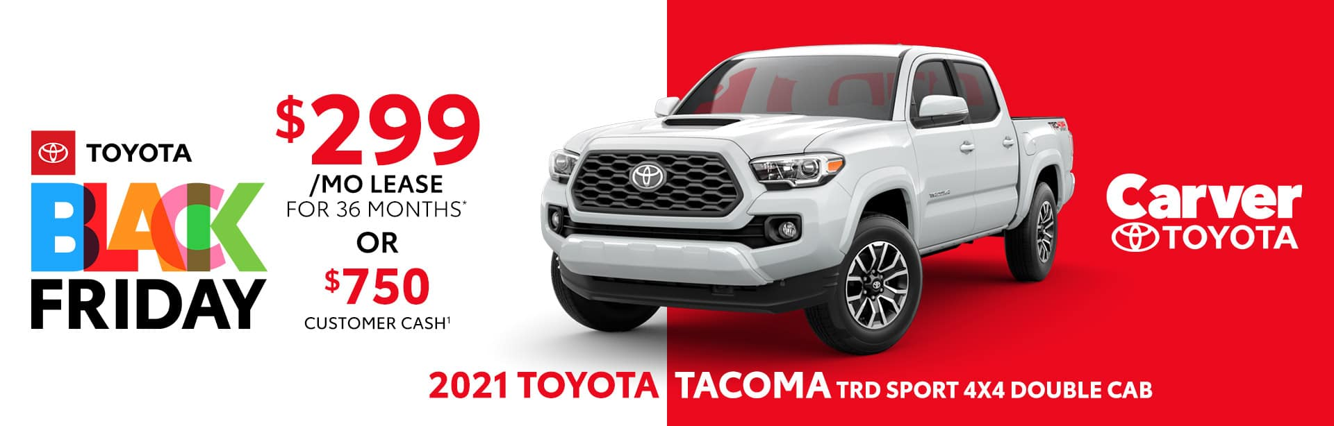 Best lease or customer cash deal on the new 2021 Toyota Tacoma TRD near Columbus, IN