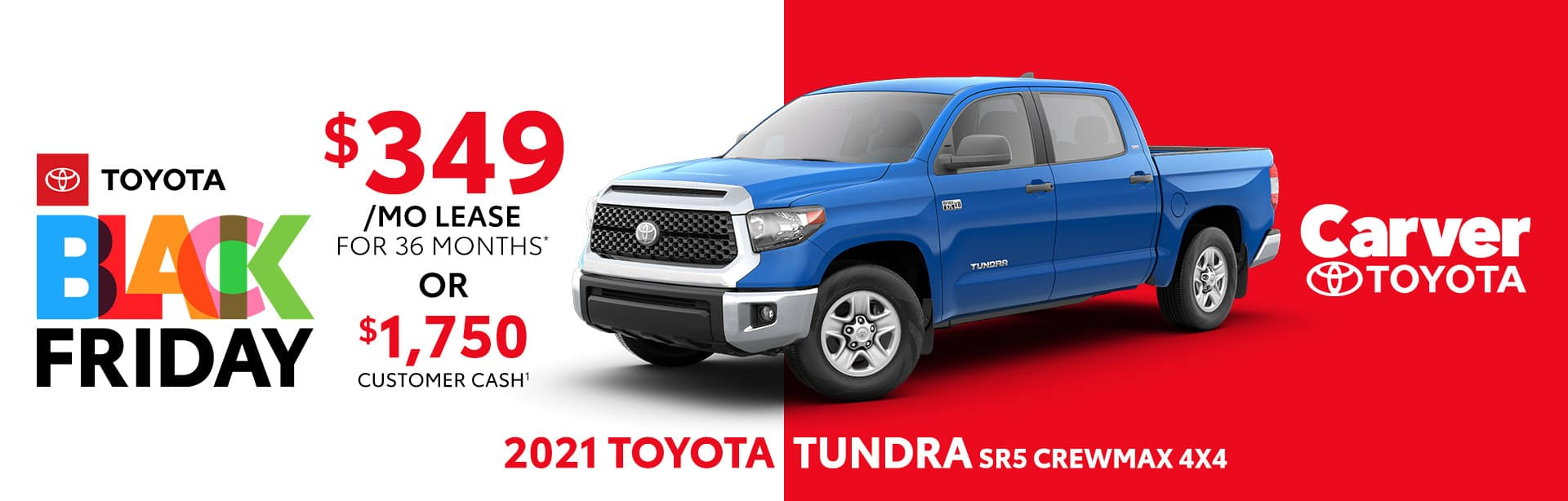 Best lease or customer cash deal on the new 2021 Toyota Tundra SR5 near Columbus, IN
