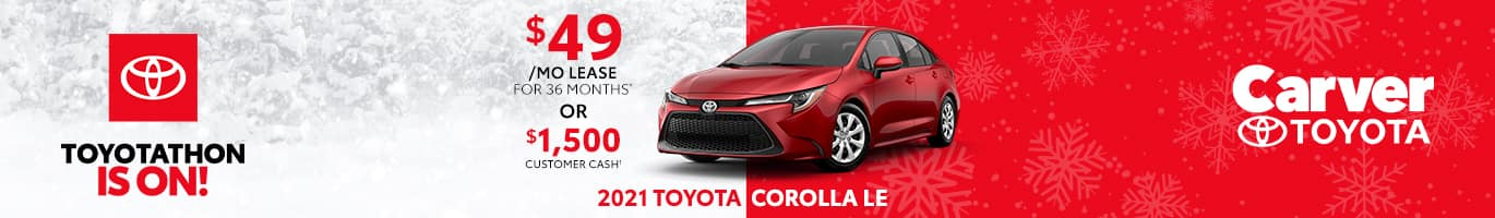 Best lease deal on the all-new 2021 Toyota Corolla near Taylorsville Indiana