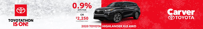 Finance deal on a new 2020 Toyota Highlander near Columbus Indiana