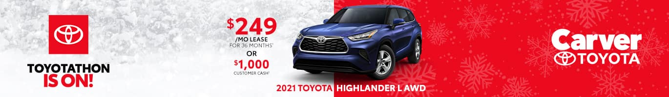 Best lease deal on the all-new 2021 Toyota Highlander near Columbus Indiana