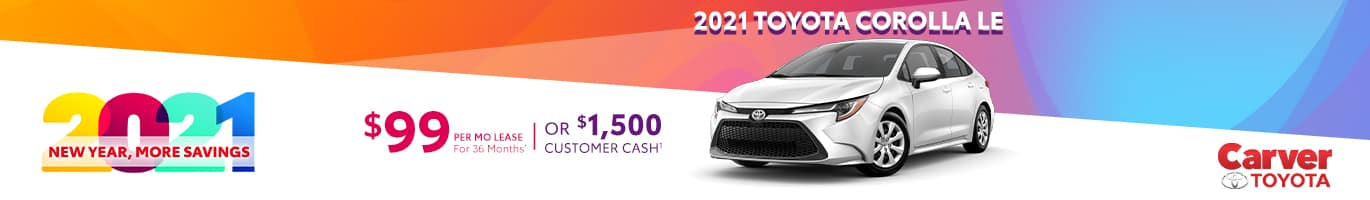 Best lease offer on a new 2021 Toyota Corolla near Columbus IN