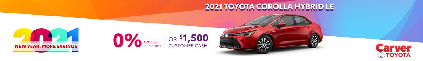 Best finance offer on an all-new 2021 Corolla Hybrid near Columbus Indiana