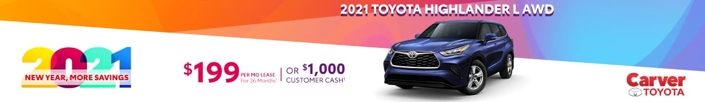 Best lease deal on a new 2021 Toyota Highlander near Columbus Indiana