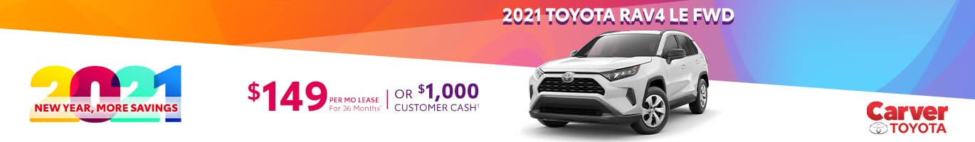Best lease deal on a new 2021 Toyota Rav4 LE near Columbus IN